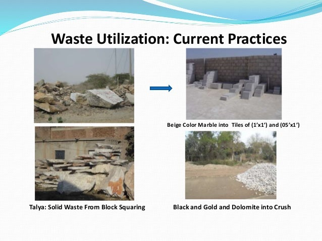 Talya: Solid Waste From Block Squaring Waste Utilization: Current Practices Beige Color Marble into Tiles of (1'x1') and (...