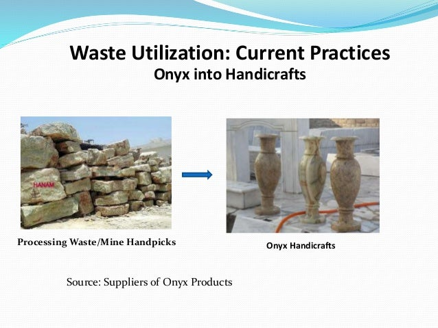 Processing Waste/Mine Handpicks Waste Utilization: Current Practices Onyx Handicrafts Onyx into Handicrafts Source: Suppli...