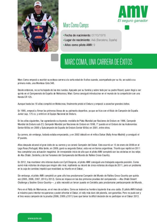 Marc Coma Camps Fecha de nacimiento: 07/10/1976 Lugar de nacimiento: Avià (Barcelona, España) Años como piloto AMV: 9  MAR...