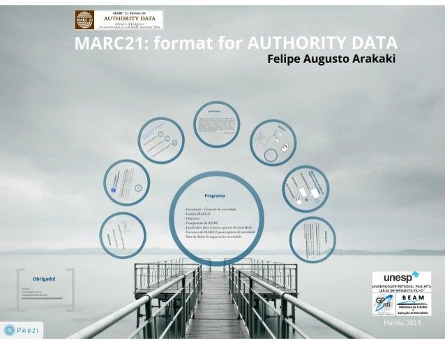 Marc21:  format for authority data = MARC21: formato para registro de autoridade