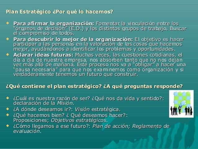 Plan Estratégico ¿Por qué lo hacemos?Plan Estratégico ¿Por qué lo hacemos?  Para afirmar la organización:Para afirmar la ...