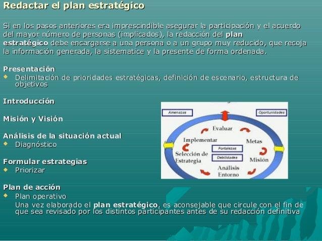 Redactar el plan estratégicoRedactar el plan estratégico Si en los pasos anteriores era imprescindible asegurar la partici...