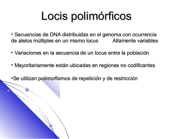 Locis polimórficos• Secuencias de DNA distribuidas en el genoma con ocurrenciade alelos múltiples en un mismo locus      A...