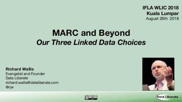 MARC and Beyond Our Three Linked Data Choices Richard Wallis Evangelist and Founder Data Liberate richard.wallis@dataliber...