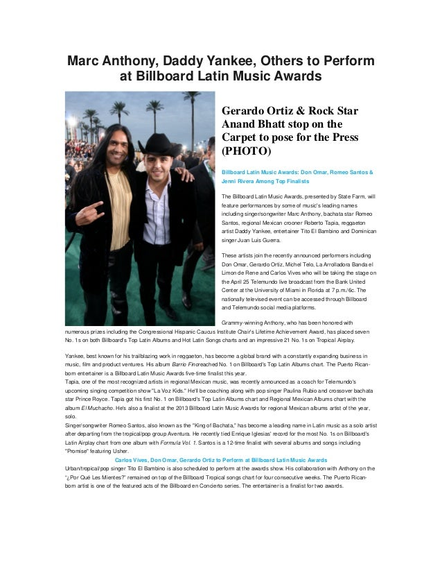Marc Anthony, Daddy Yankee, Others to Perform        at Billboard Latin Music Awards                                      ...