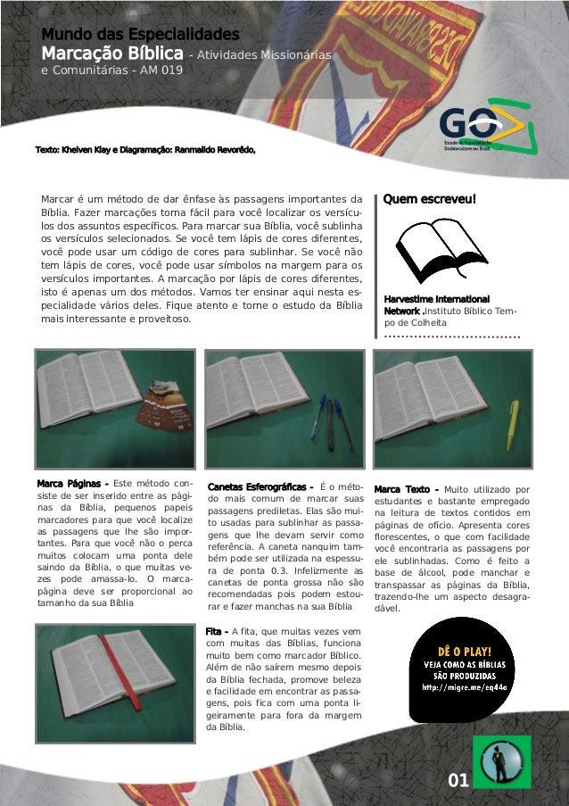 Mundo das Especialidades  Marcação Bíblica  - Atividades Missionárias  e Comunitárias - AM 019  Texto: Khelven Klay e Diag...