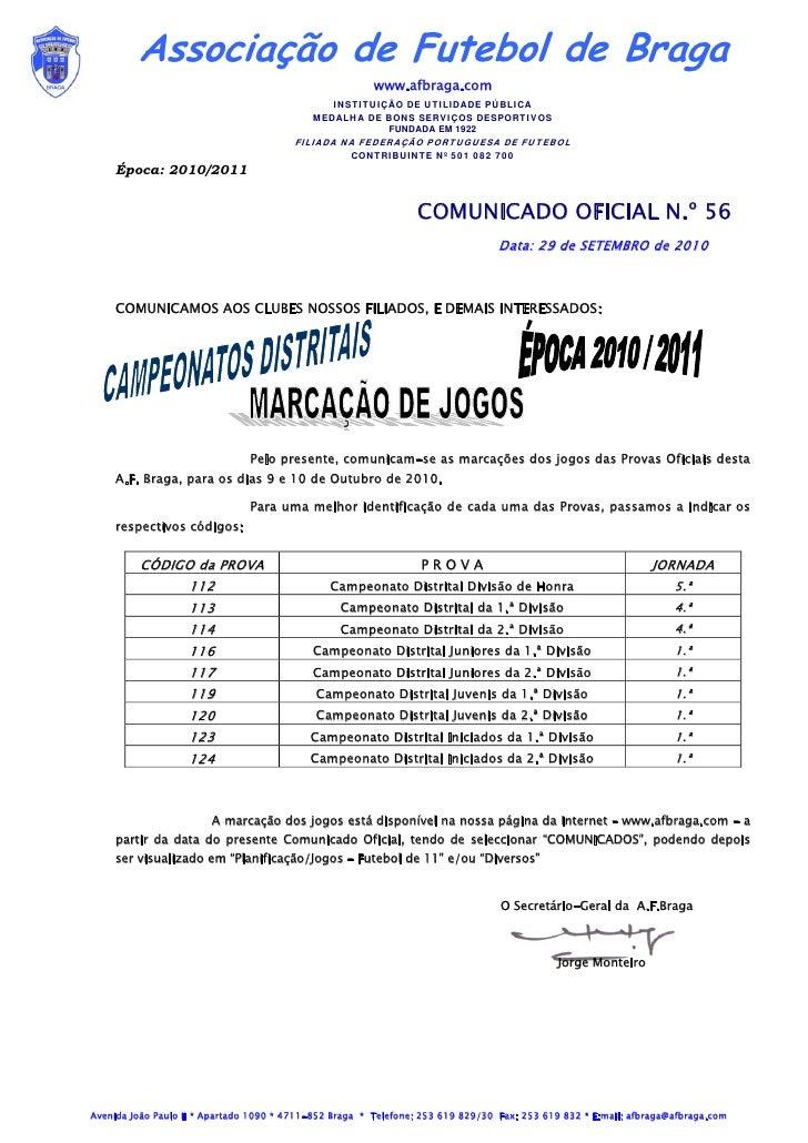 Associação de Futebol de Braga                                                         www.afbraga.com                    ...