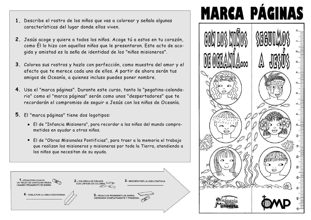 Marcapaginas Día de la Infancia Misionera