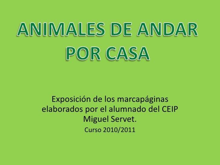 Exposición de los marcapáginas elaborados por el alumnado del CEIP Miguel Servet.<br />Curso 2010/2011<br />ANIMALES DE AN...