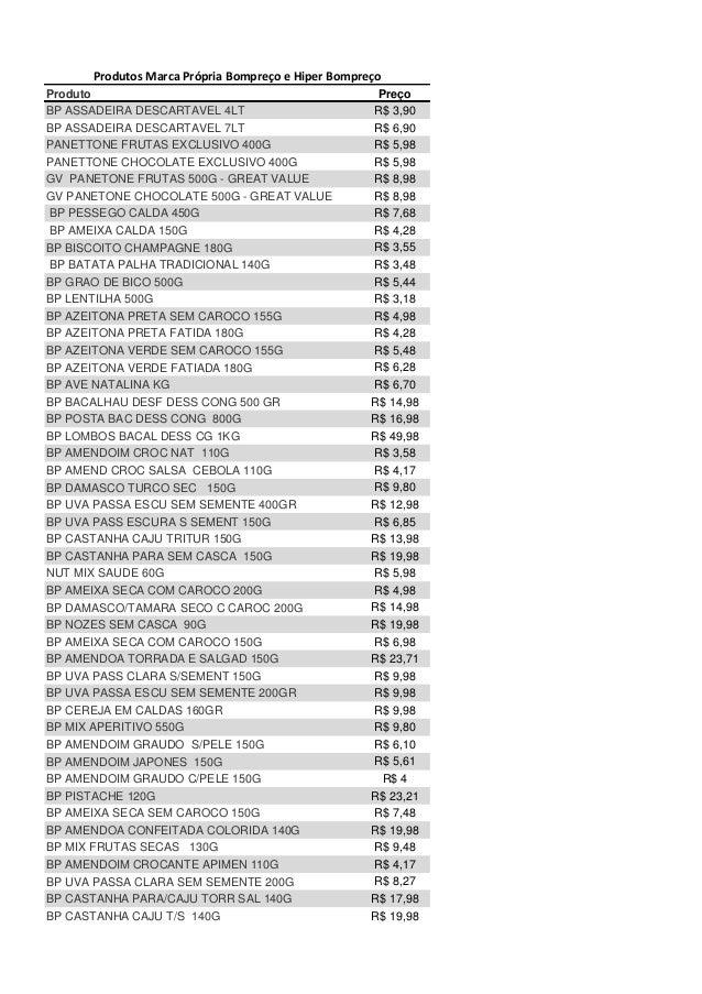 Produtos Marca Própria Bompreço e Hiper Bompreço Produto BP ASSADEIRA DESCARTAVEL 4LT BP ASSADEIRA DESCARTAVEL 7LT PANETTO...