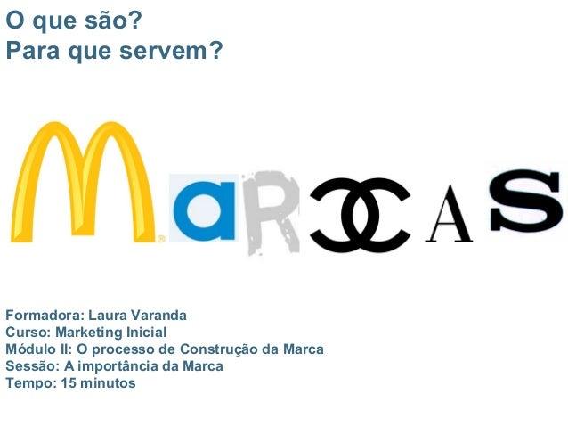 Formadora: Laura Varanda Curso: Marketing Inicial Módulo II: O processo de Construção da Marca Sessão: A importância da Ma...