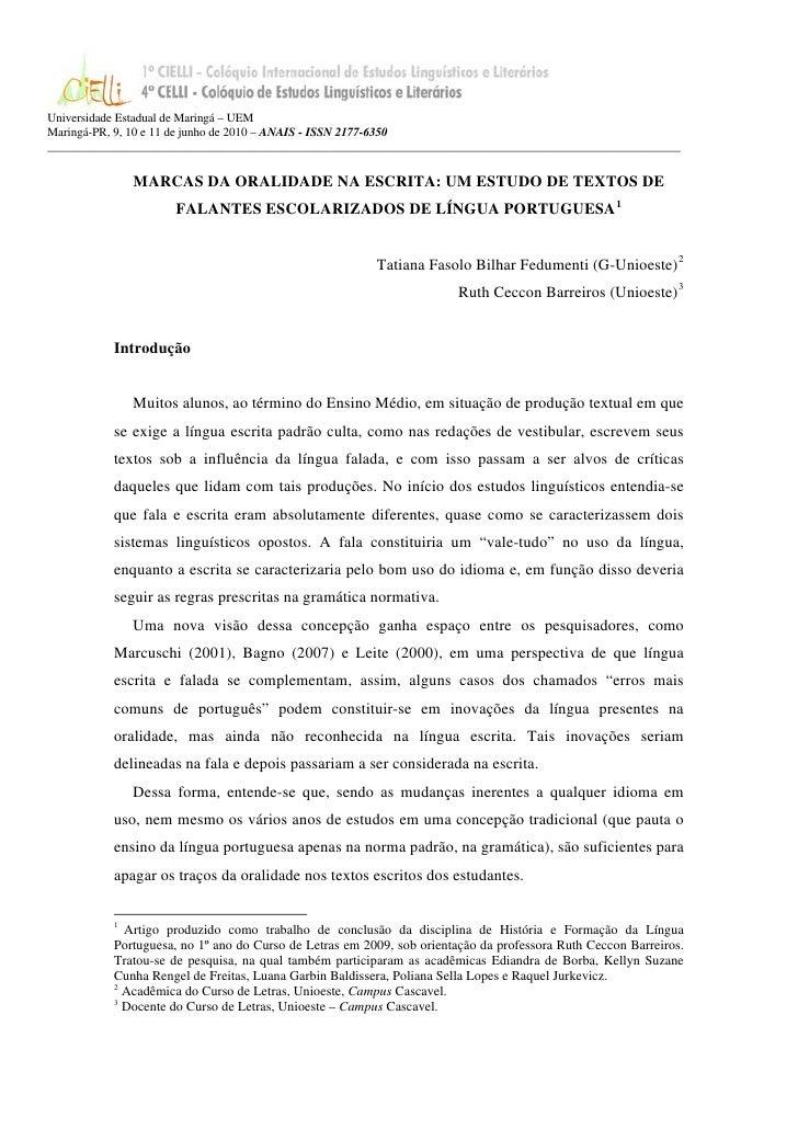 Universidade Estadual de Maringá – UEMMaringá-PR, 9, 10 e 11 de junho de 2010 – ANAIS - ISSN 2177-6350____________________...