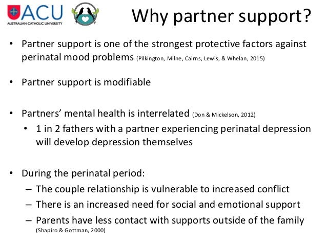 how can partners support one another to prevent perinatal depression