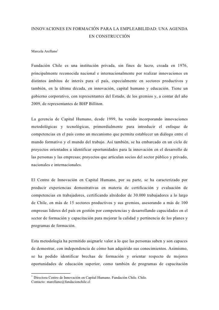 INNOVACIONES EN FORMACIÓN PARA LA EMPLEABILIDAD: UNA AGENDA                                     EN CONSTRUCCIÓN   Marcela ...