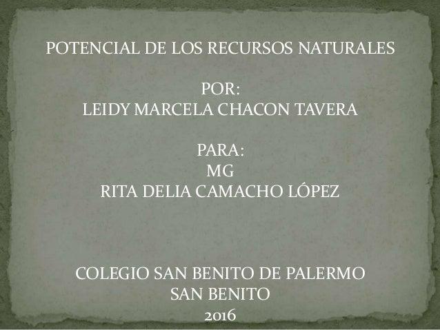 POTENCIAL DE LOS RECURSOS NATURALES POR: LEIDY MARCELA CHACON TAVERA PARA: MG RITA DELIA CAMACHO LÓPEZ COLEGIO SAN BENITO ...