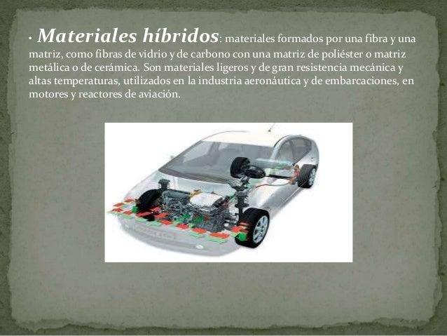 • Materiales híbridos: materiales formados por una fibra y una matriz, como fibras de vidrio y de carbono con una matriz d...