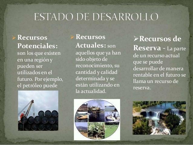  Recursos Potenciales: son los que existen en una región y pueden ser utilizados en el futuro. Por ejemplo, el petróleo p...