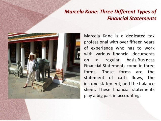 Marcela Kane: Three Different Types of Financial Statements Marcela Kane is a dedicated tax professional with over fifteen...