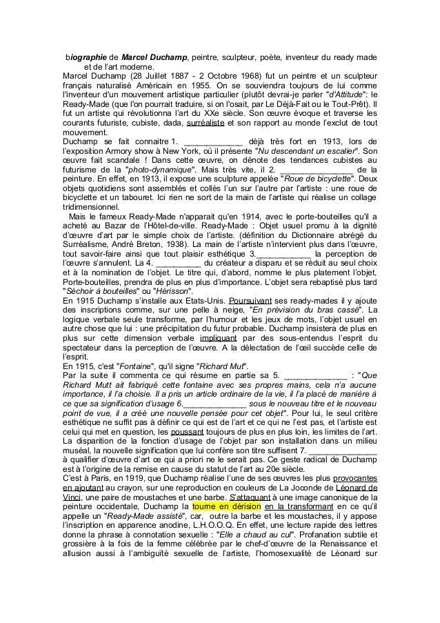 biographie de Marcel Duchamp, peintre, sculpteur, poète, inventeur du ready made  et de l'art moderne.  Marcel Duchamp (28...