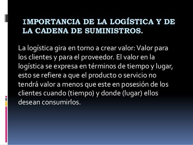 IMPORTANCIA DE LA LOGÍSTICA Y DE LA CADENA DE SUMINISTROS. La logística gira en torno a crear valor:Valor para los cliente...