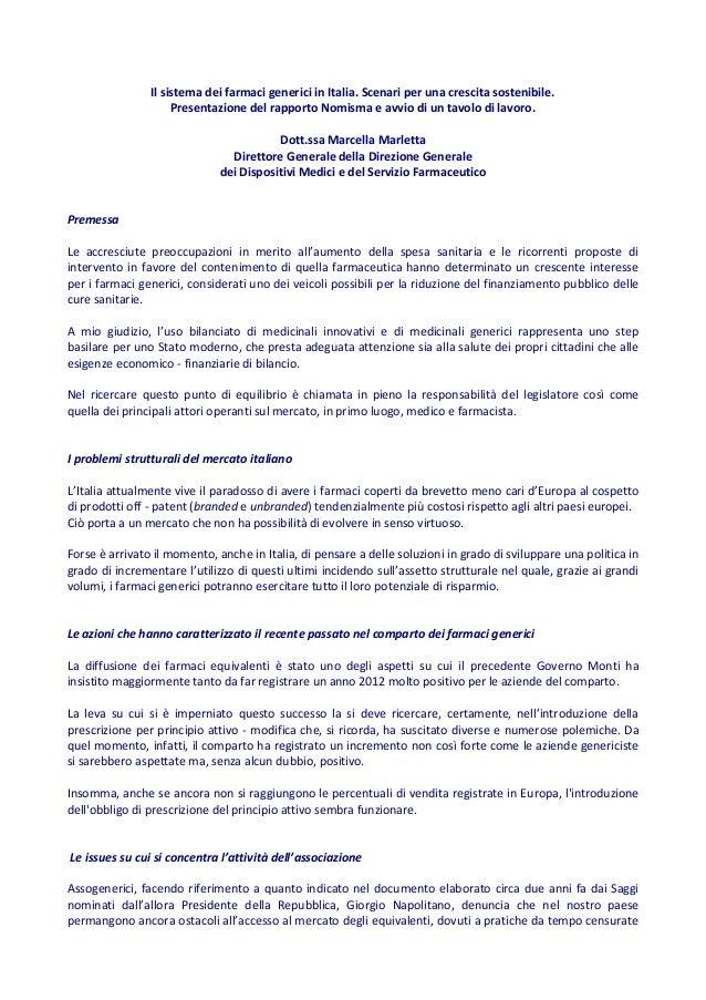 Il sistema dei farmaci generici in Italia. Scenari per una crescita sostenibile. Presentazione del rapporto Nomisma e avvi...