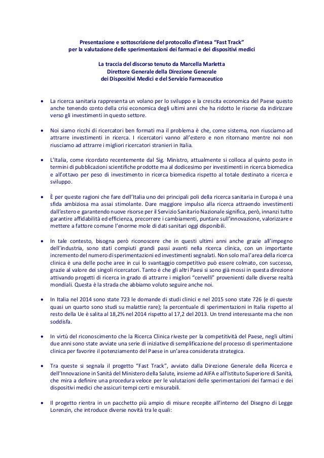 """Presentazione e sottoscrizione del protocollo d'intesa """"Fast Track"""" per la valutazione delle sperimentazioni dei farmaci e..."""