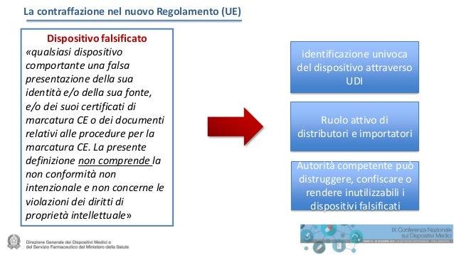 La contraffazione nel nuovo Regolamento (UE) Dispositivo falsificato «qualsiasi dispositivo comportante una falsa presenta...