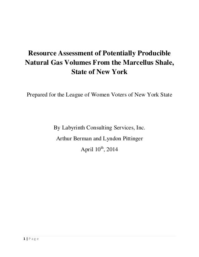 1 | P a g e Resource Assessment of Potentially Producible Natural Gas Volumes From the Marcellus Shale, State of New York ...