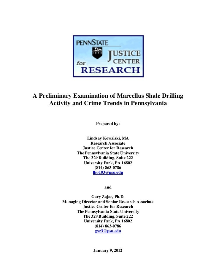 A Preliminary Examination of Marcellus Shale Drilling     Activity and Crime Trends in Pennsylvania                       ...
