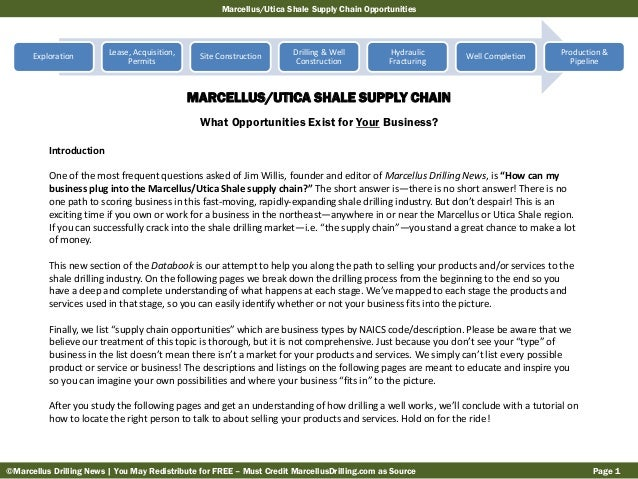 Marcellus/Utica Shale Supply Chain Opportunities  Exploration  Lease, Acquisition, Permits  Site Construction  Drilling & ...