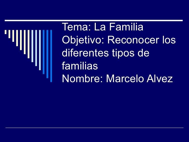 Tema: La FamiliaObjetivo: Reconocer losdiferentes tipos defamiliasNombre: Marcelo Alvez
