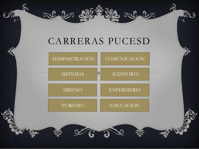 CARRERAS PUCESD ADMINISTRACIÓN  COMUNICACIÓN  SISTEMAS  AUDITORIA  DISEÑO  ENFERMERIA  TURISMO  EDUCACIÓN