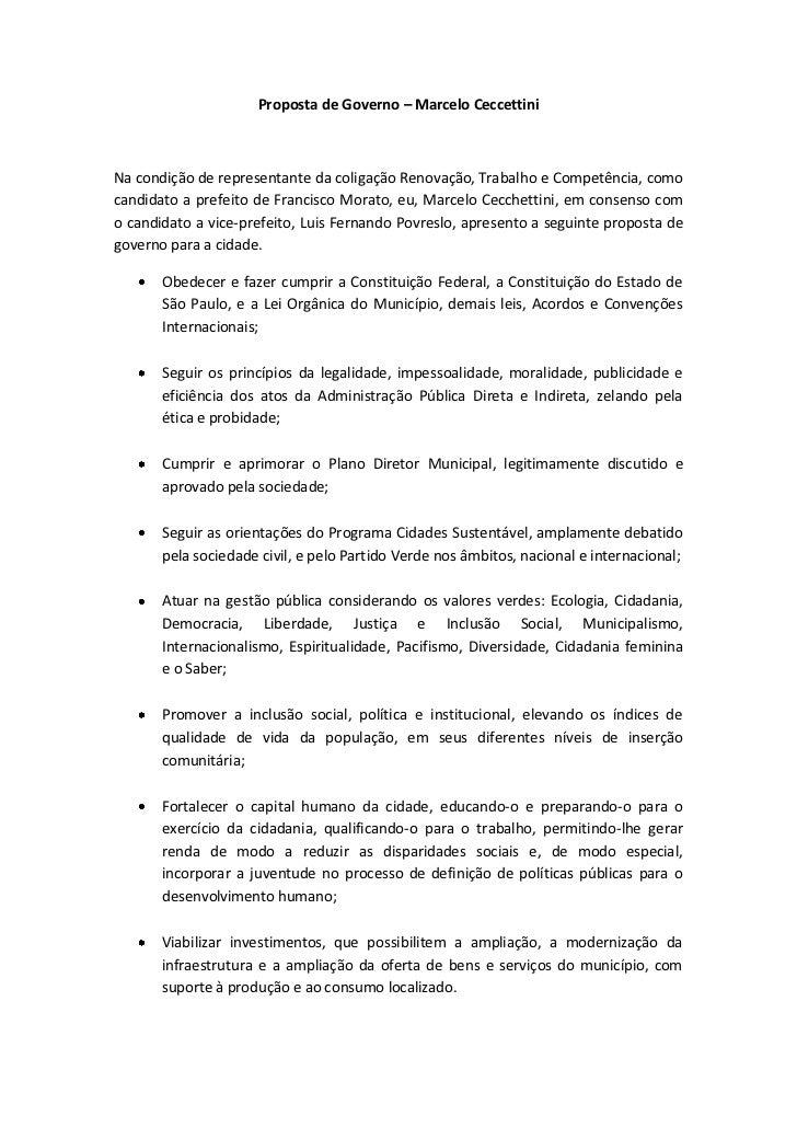 Proposta de Governo – Marcelo CeccettiniNa condição de representante da coligação Renovação, Trabalho e Competência, comoc...