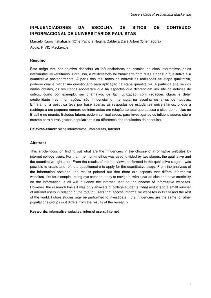 Universidade Presbiteriana MackenzieINFLUENCIADORES   DA   ESCOLHA     DE   SÍTIOS                                    DE  ...
