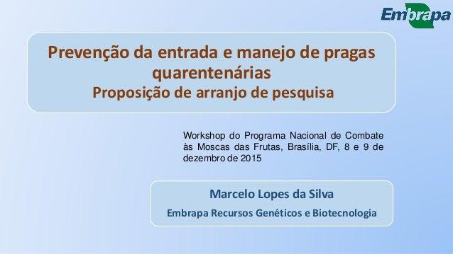 Prevenção da entrada e manejo de pragas quarentenárias Proposição de arranjo de pesquisa Marcelo Lopes da Silva Embrapa Re...