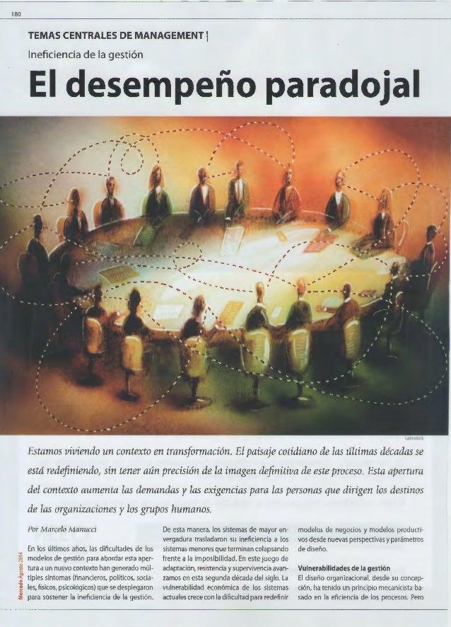 180  TEMAS CENTRALES DE MANAGEMENT 1  Ineficiencia de la gestión  El desempeño paradojal  , -- ...... ..,. ,. --;- --,~.,....