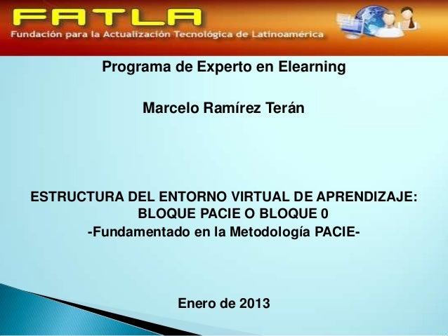 Programa de Experto en Elearning             Marcelo Ramírez TeránESTRUCTURA DEL ENTORNO VIRTUAL DE APRENDIZAJE:          ...