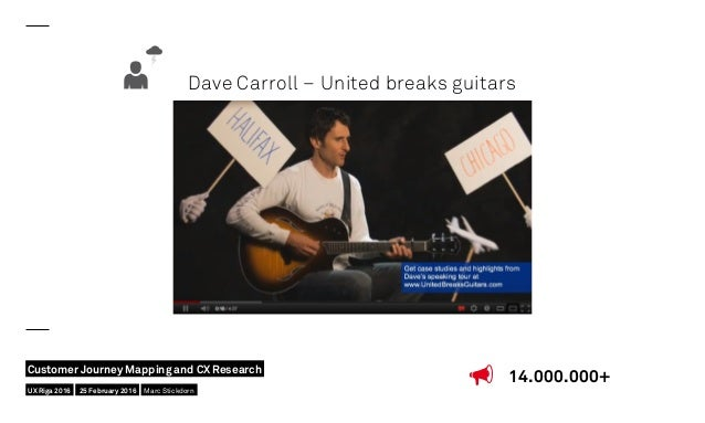 Dave Carroll – United breaks guitars 14.000.000+ UX Riga 2016 Customer Journey Mapping and CX Research 25 February 2016 Ma...
