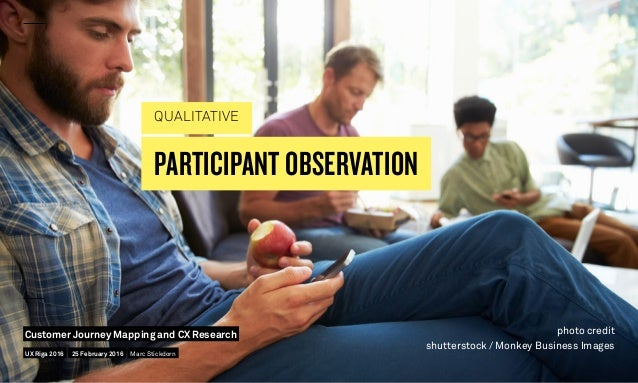PARTICIPANT OBSERVATION QUALITATIVE photo credit shutterstock / Monkey Business Images UX Riga 2016 Customer Journey Mappi...