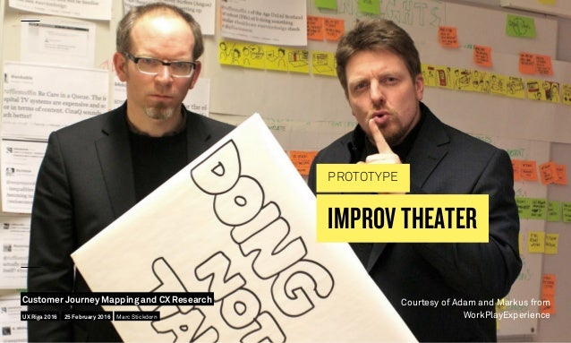 IMPROV THEATER PROTOTYPE Courtesy of Adam and Markus from WorkPlayExperienceUX Riga 2016 Customer Journey Mapping and CX R...