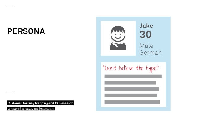 """PERSONA Jake 30 Male German """"Don't believe the hype!"""" UX Riga 2016 Customer Journey Mapping and CX Research 25 February 20..."""