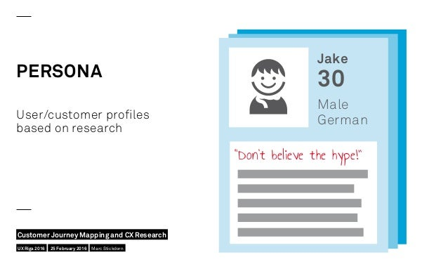 """PERSONA """"Don't believe the hype!"""" User/customer profiles based on research Jake 30 Male German UX Riga 2016 Customer Journ..."""
