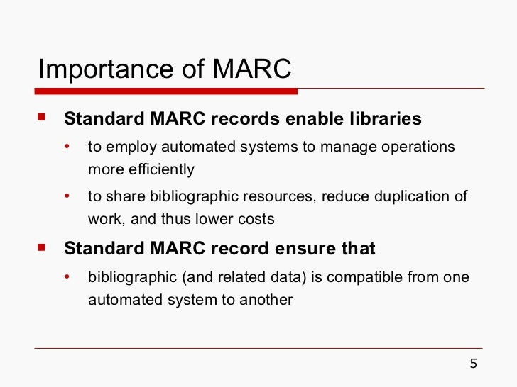 importance of marc