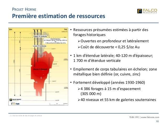 TSXV: FPC | www.falcores.com 10 (1) Voir les notes de bas de page en annexe PROJET HORNE Première estimation de ressources...