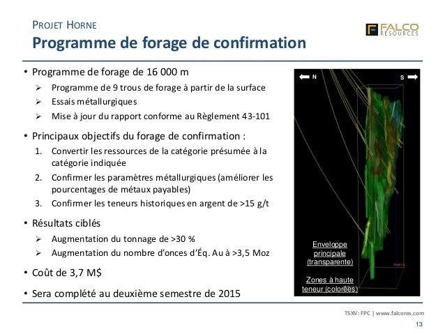 TSXV: FPC | www.falcores.com 13 PROJET HORNE Programme de forage de confirmation • Programme de forage de 16 000 m  Progr...