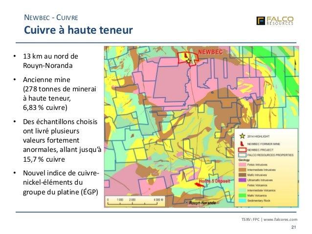 TSXV: FPC | www.falcores.com 21 NEWBEC - CUIVRE Cuivre à haute teneur • 13 km au nord de Rouyn-Noranda • Ancienne mine (27...