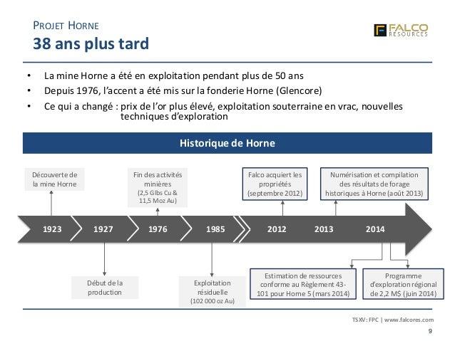 TSXV: FPC | www.falcores.com 9 Début de la production • La mine Horne a été en exploitation pendant plus de 50 ans • Depui...