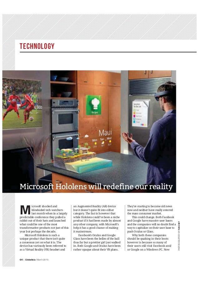 Technology 64 | GlobeAsia March 2015 PHOTOSCOURTESYOFFUBIZ.NET M icrosoft shocked and blindsided tech watchers last month ...