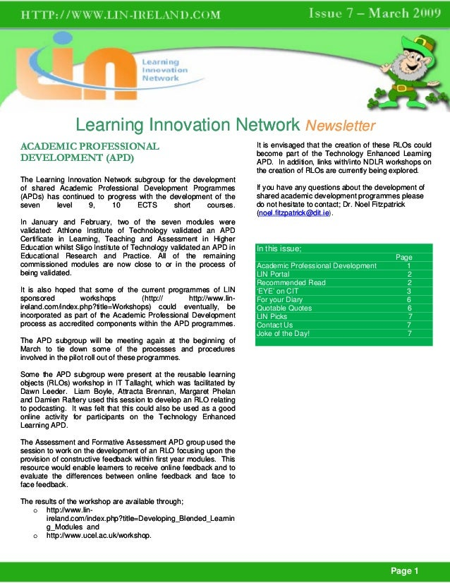 Learning Innovation Network NewsletterACADEMIC PROFESSIONAL                                                It is envisaged...