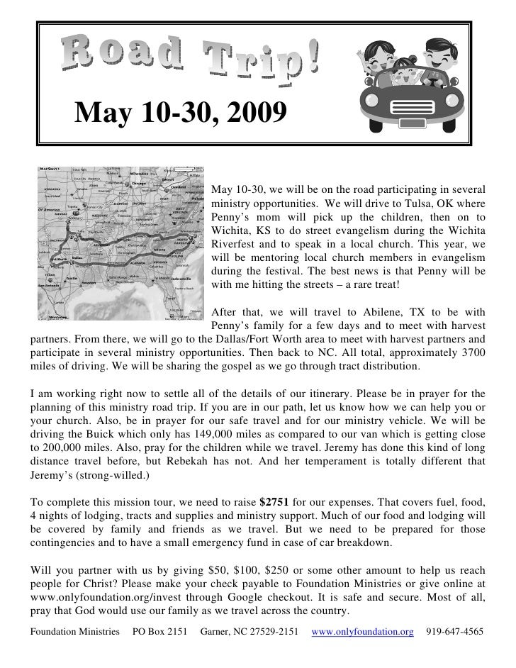 May 10-30, 2009                                          May 10-30, we will be on the road participating in several       ...